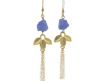 Tanzanite Earrings, Gemstone Waterfall Earrings, Gemstone Dangle Earrings, Tassesl Earrings, Purple Stone Earrings, in Gold or Silver