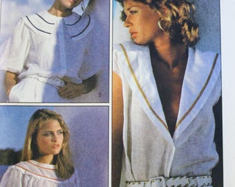 McCalls 8038 / Gathered Pullover Top Sewing Pattern / Square Neckline / 80s Dress Patterns