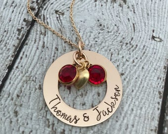 Mother of Twins Necklace, Gift for Mom of Twins, Birthstone Necklace for Mom, Twins Birthstone Necklace, Twins Mommy Necklace, Mom Jewelry