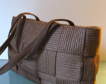Made in Italy Chocolate Woven Shoulder Bag