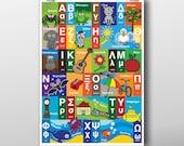 Children's Greek Alphabet Poster - various sizes - Instant Download
