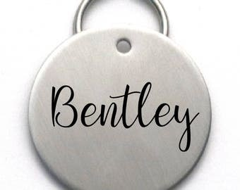 Large Stainless Steel Dog Name Tag - Simple Personalized Pet ID - Strong Metal Engraved Tag