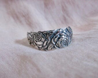 Rose Flower Small Spoon Ring Sterling Alvin Silversmiths Floral Jewelry