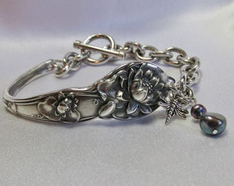 Pond Lily Flower Bracelet Sterling Spoon Bracelet Engraved 1904 Symbolic of Enlightenment by Treasure Grotto