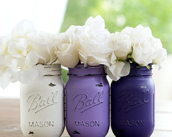 Purple, Lavender, White Painted & Distressed Mason Jars
