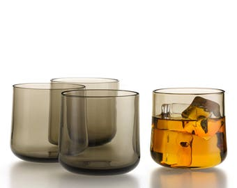 Hand Blown Glass Whiskey Glasses in Antique Grey