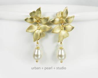 Gold Orchid Flower Bridal Earrings Long Pearl Drops Swarovski Pearls Matte Gold