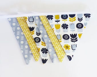 Garland 6 large flags in fabric geometric style Scandinavian blue, mustard and white tones