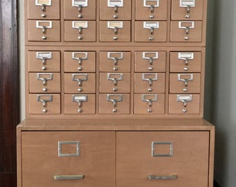 SOLD Mid Century Library Card Catalog Filing Cabinet Large 37 Drawers Metal Base Vintage Office Furniture