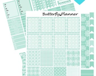 Teal Mania Printable Planner Stickers, 2 Pages, Digital Download