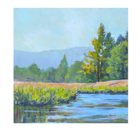 Mountain painting| Acrylic landscape painting | mountain landscape| River painting|Marsh Painting | yellowstone|impressionist art  original
