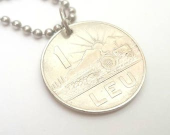 1966 Romanian Coin Necklace - Stainless Steel Ball Chain or Key-chain - farming - tractor - sun