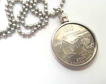 Iowa State Quarter Coin Necklace with Stainless Steel Ball Chain or Key-chain - 2004 - Foundation in Education