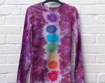 Rainbow Tie Dye Chakra Top Long Sleeve Womens Top ALL SIZES Yoga Festival Clothing Hippie Bohemian LGBT Pride