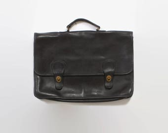 Vintage 80s COACH BRIEFCASE / 1980s Black Leather Laptop Attache Bag Made in New York City
