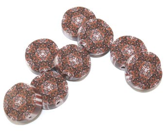Kaleidoscope beads, handmade beads, abstract pattern beads in brown and bronze, round flat beads, polymer clay beads, 8 millefiori beads