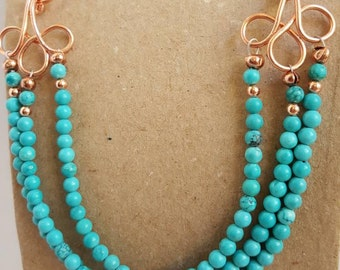 Turquoise and copper tripple strand necklace