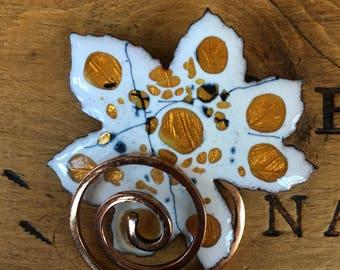 Matisse Renior Copper Leaf Pin/Fall Leaf Brooch/Leaf Brooch/Vintage Leaf Brooch