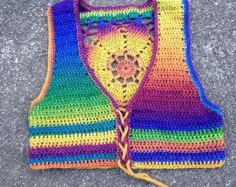 Luna Mandala Vest - Rainbow Crochet Bolero - Small