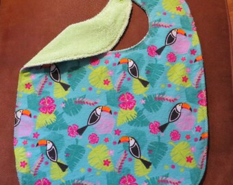 Waterproof lined Adult Bib Snaps Toucans Rain Forest theme Special Needs Teen Bib Snaps  Reversible Adult Teen Bibs Colorful Adult Bibs