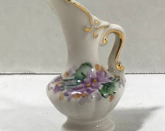 "Vintage Miniature Ceramic Pitcher 3"" Hand Painted Purple flowers gold trim"