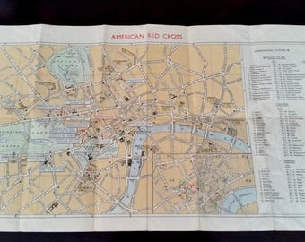 American Red Cross Map Of London WW2 Serviceman Map Very RARE