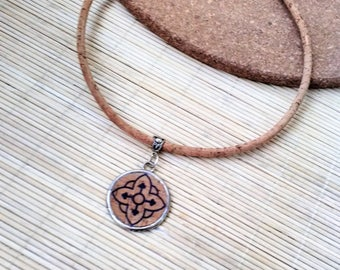 Portuguese Cork Necklace, Azulejos, Natural Dyed Cork, Azulejos Stamped Cork, Portuguese Tile Necklace