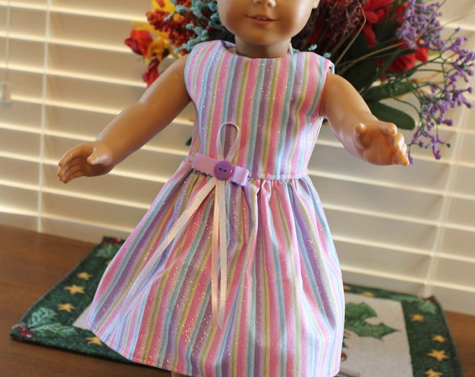 Ready to Party Spring Pastel Print with Purple Ribbon Dress Purple Bling Shoes Made to fit the AG and other 18 inch dolls FREE SHIPPING