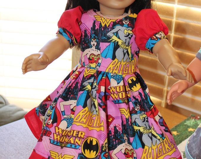 Ready for a Party, Bright ,Pink,Wonder Woman Print ,Dress , Matching Shoes made for the AG and other 18 inch dolls FREE SHIPPING