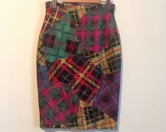 80s patchwork pencil skirt, designer silk skirt, pink purple yellow green, xs - vintage -