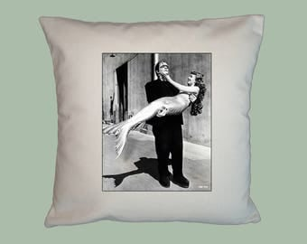 Vintage Hollywood Frankenstein and Mermaid Backlot Postcard -  HANDMADE 16x16 Pillow Cover - Choice of Fabric