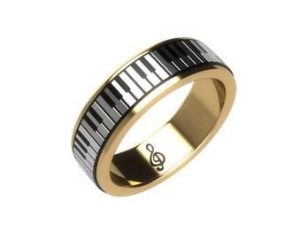 Piano Ring, 9ct gold and silver keys