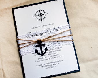 Navy wedding invitation suite, Nautical Invitation set, Anchor Wedding Invitation Set with anchor and compass, white and navy wedding cards