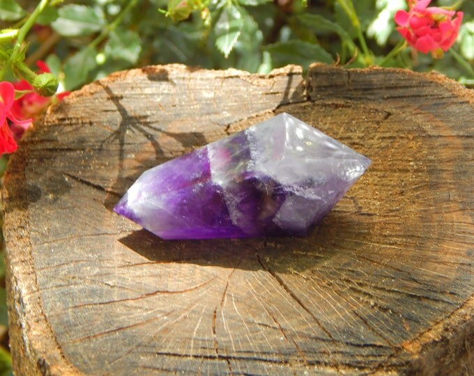 CHEVRON AMETHYST Vogel Cut Wand 48.6g - Double terminated Dream Amethyst natural gemstone - Reiki Wicca Pagan Energy-work Tool