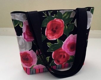 Quilted Floral Tote Bag, Red and Pink Floral Tote Bag, Fabric Tote Bag, Quilted Tote Bag, Shoulder Bag, Carry All Bag