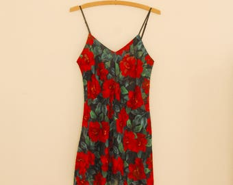 Black and Red Floral Slip - 1980s