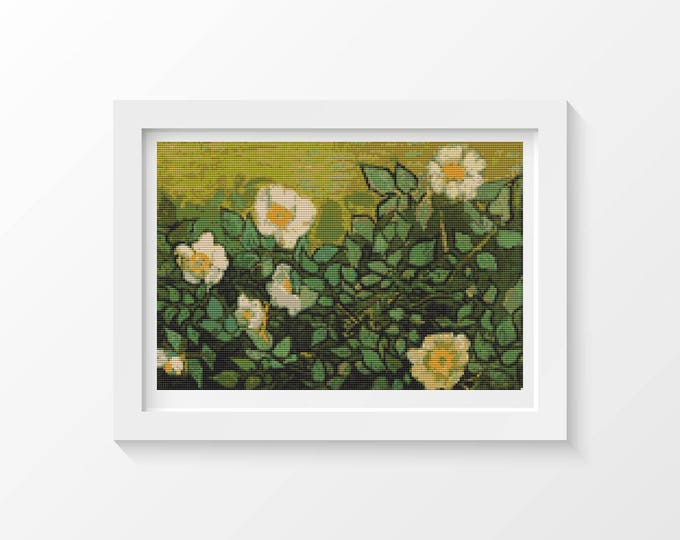 Cross Stitch Pattern PDF, Embroidery Chart, Art Cross Stitch, Floral Cross Stitch, Wild Roses by Vincent Van Gogh (VGOGH18)
