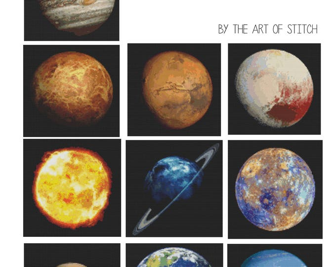 Cross Stitch Pattern PDF Set Planetary Series, Space Cross Stitch, Art Cross Stitch (BOOK03)