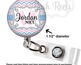 Retractable Badge Holder - Personalized NICU Badge Reel ID, Labor and Delivery Badge Holder - 0536