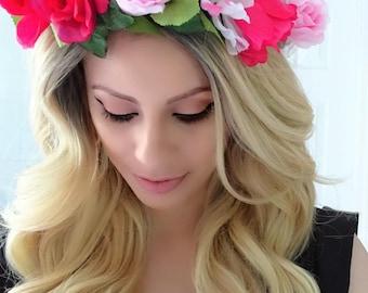 Shades of Pink Floral Crown, Flower Crown, Pink Floral Crown, Flower Headpiece, Boho Flower Crown, Pink Flower Crown
