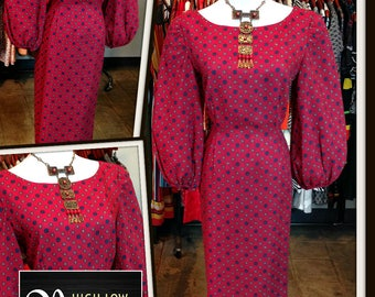 Vintage Red Print Dress FREE SHIPPING