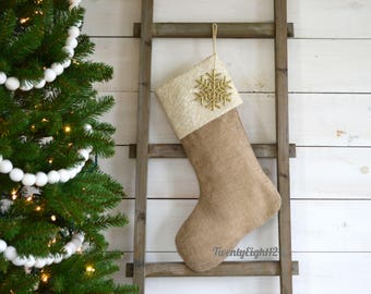 Personalized Christmas Stocking - Ivory Sequin and Burlap - Christmas Stocking, Burlap Stocking, Stocking
