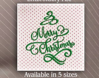 Merry Christmas Tree with Swirls Machine Embroidery Design pattern File