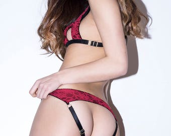 AMY red lace low rise cut out panties / knickers - ouvert peep bum strappy design, handmade lingerie - ethical clothing to order