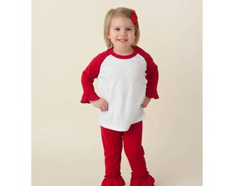 Solid Red Ruffle Leggings/ Icing Leggings!! Christmas Leggings/ Xmas Toddler Bottoms