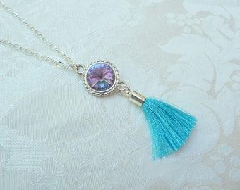 Swarovski Tassel Necklace- Turquoise Tassel Necklace- Swarovski Rhinestone Tassel Necklace- Swarovski Vitrail Light Necklace- 632
