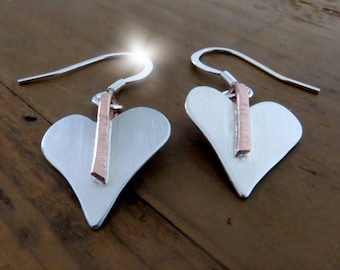 Silver Heart Earrings with Copper, Seventh Anniversary Gift, 7th Anniversary Gift, Silver and Copper Hearts, Silver and Copper Jewellery
