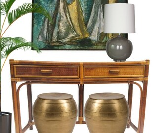 Vintage Bamboo Console Table Bamboo & Rattan Desk Tropical Coastal Decor Meets Bohemian Hall Entryway Table 2 Drawer Console Table