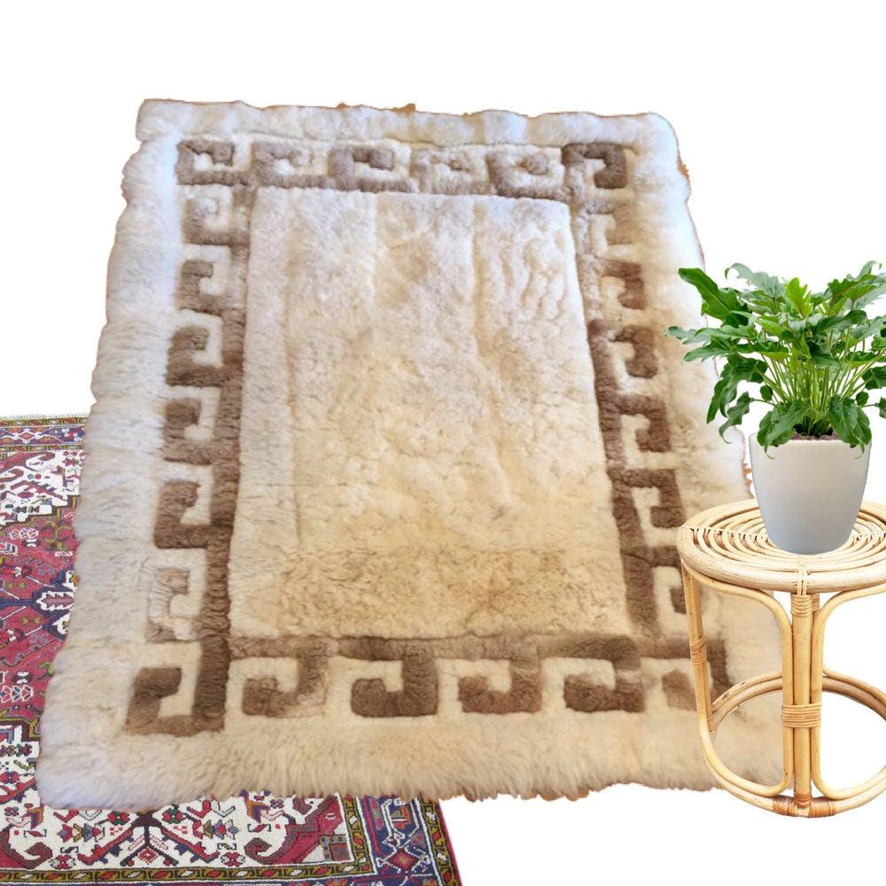 Vintage Sheepskin Rug Peruvian Textile Alpaca Rug Wall Hanging