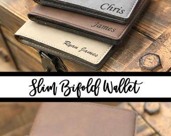 Slim Wallet for Men, Monogram Wallet, Men's Wallet, Personalized Engraved Bifold Wallet, Gift for Him, Engraved Mens Leather Wallets